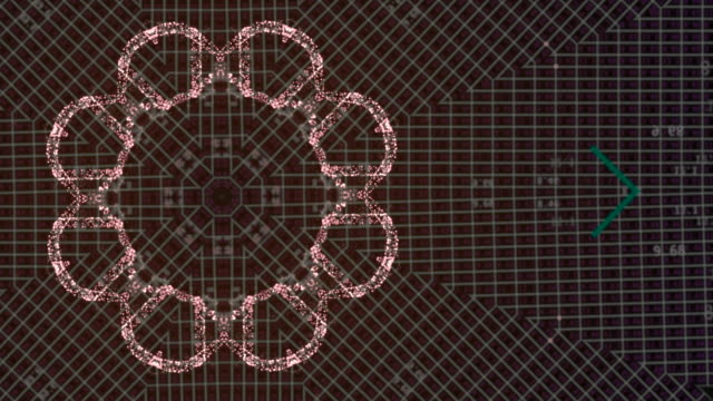 Seamlessly looping futuristic of electronic board forming interesting pattern over dim red background.