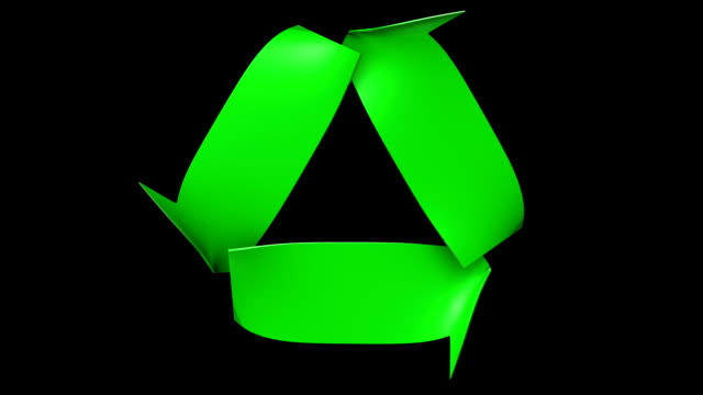 Seamlessly looping recycling symbol video