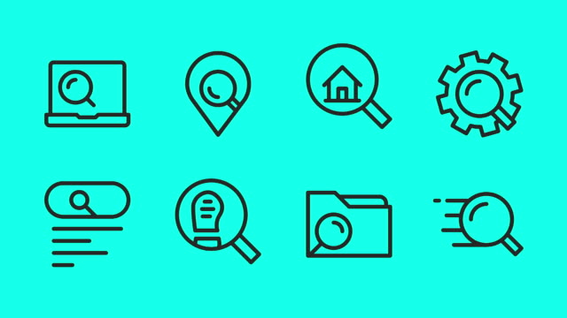 Searching Concept Line Icons - Vector Animate Searching Concept Line Icons Vector Animate Full HD on Green Screen. home icon stock videos & royalty-free footage