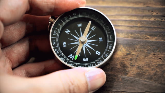 Searching direction Traveler man searching direction with a compass navigational compass stock videos & royalty-free footage