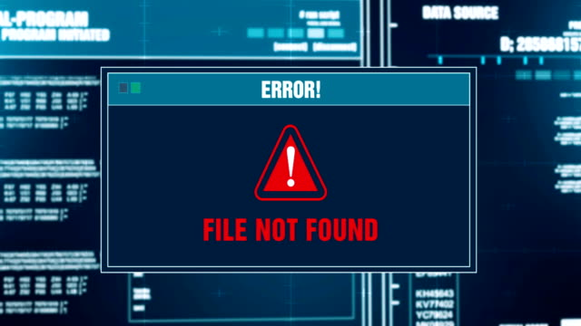searching files progress warning message file not found alert on computer screen entering system login and password. system security, cyber crime, computer hacking concept - errore video stock e b–roll