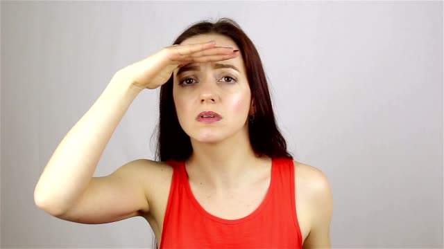 Searching Gesture by Beautiful Young Woman video