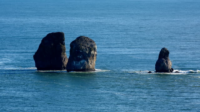 Seascape of Kamchatka Peninsula: Three Brothers Rocks in Avachinskaya Bay (Pacific Ocean) video