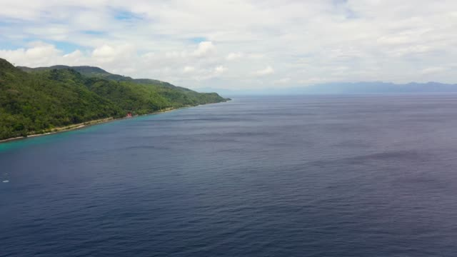 Seascape with islands, aerial view. Sogod Bay, Leyte Island, Philippines