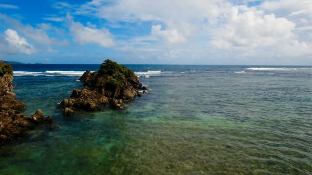 Seascape with rocks and waves. Catanduanes, Philippines video