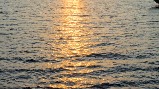 vídeos de stock e filmes b-roll de seascape with ship passing by. white ferry boat going to the other shore of the island. background of calm sea with sun reflection in the water. sea with little waves close up. - transatlântico
