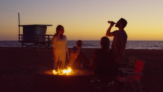 Seaside Bonfire After Sunset - video