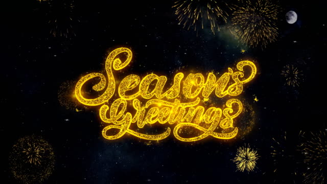 vídeos de stock e filmes b-roll de seasons greetings text wishes reveal from firework particles greeting card. - texto datilografado