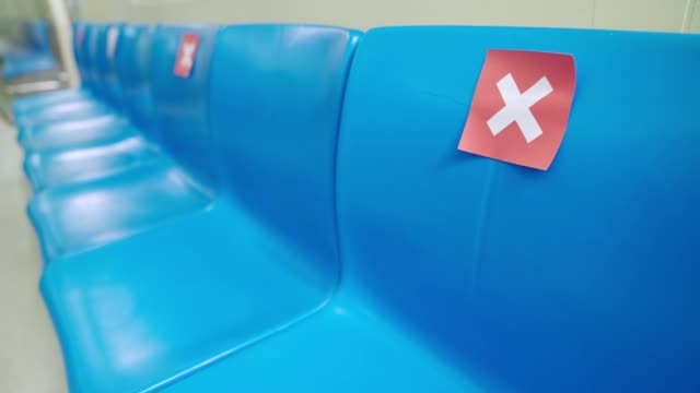 Seat on public in public underground metro with social distancing signs