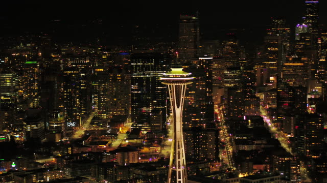 Seattle Aerial v110 Flying around South Lake Union area at night with cityscape views