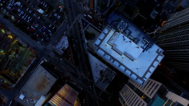 Seattle Aerial v25 Flying low vertical shot looking down over downtown area at dusk. seattle stock videos & royalty-free footage