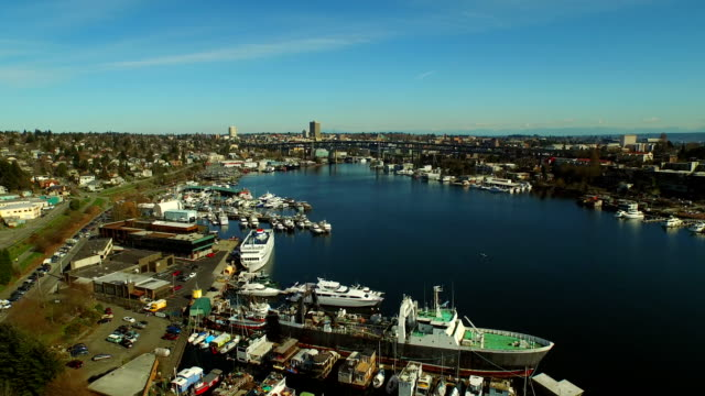 Seattle Aerial v77 Flying low over Lake Union panning right. south stock videos & royalty-free footage