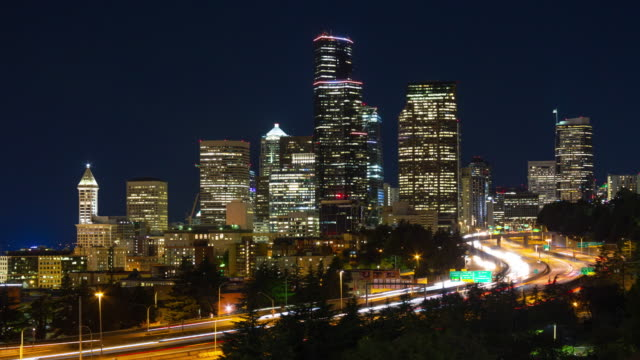 Seattle at Night View from Beacon Hill seattle stock videos & royalty-free footage