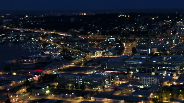 Seattle City Traffic Time Lapse Night Pan Tilt Shift video