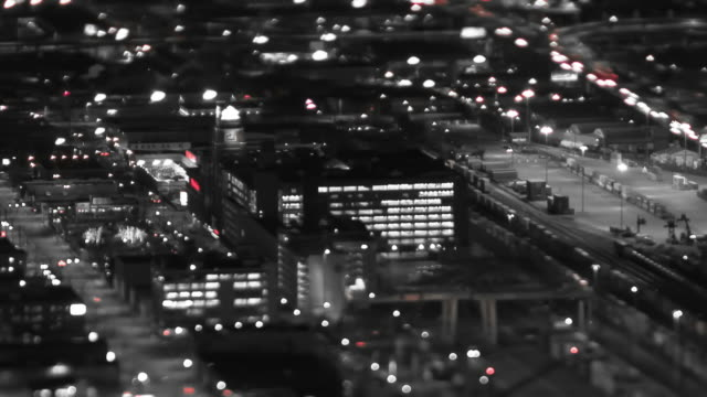 seattle city traffic time lapse night pan tilt shift - black and white architecture stock videos & royalty-free footage