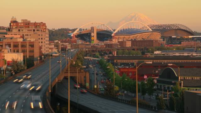 Seattle City Traffic Time Lapse Sunset video