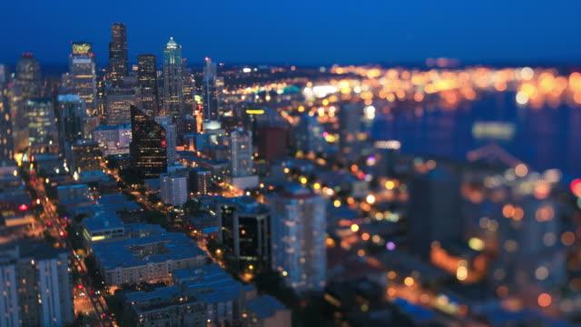 Seattle Cityscape Time Lapse Dusk Tilt Shift video