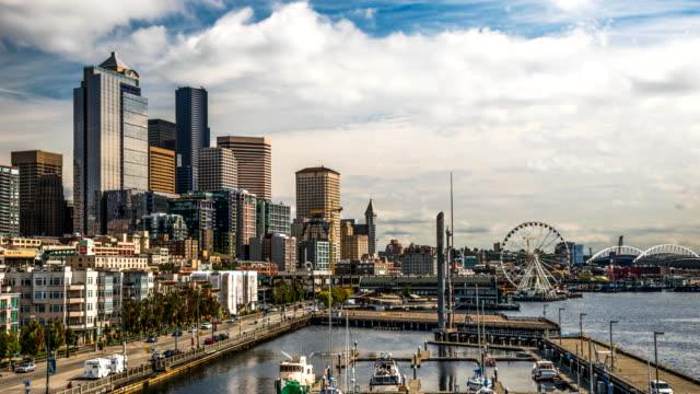 시애틀 시내 시간 경과 - seattle 스톡 비디오 및 b-롤 화면
