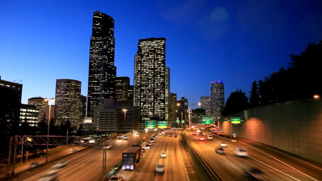 Seattle downtown highway traffic video