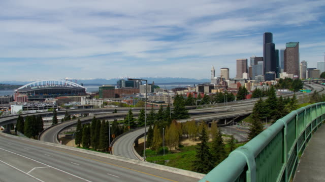 Seattle Downtown view with no freeway traffic Panoramic cityscape view with empty roads seattle stock videos & royalty-free footage