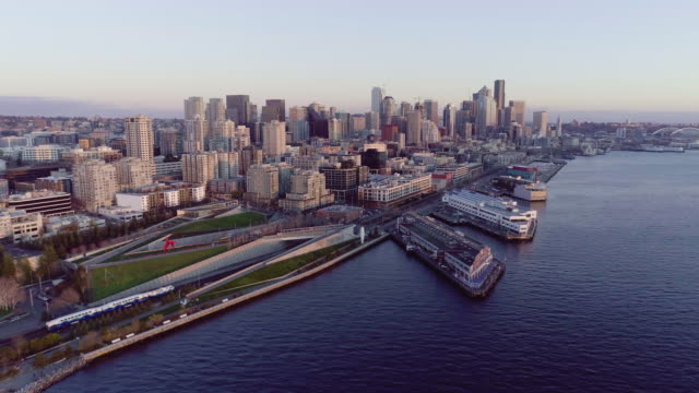 Seattle Downtown Waterfront Train Aerial City View video