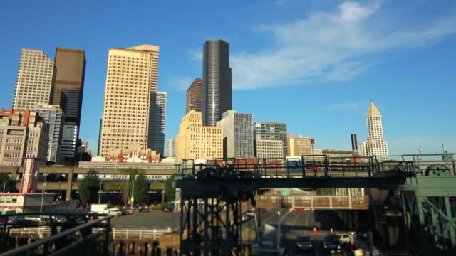 Seattle Ferry Boarding Cityscape Tilt Shift
