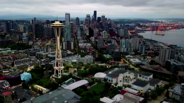 Seattle in morning twilight aerial hyper lapse zooming out video