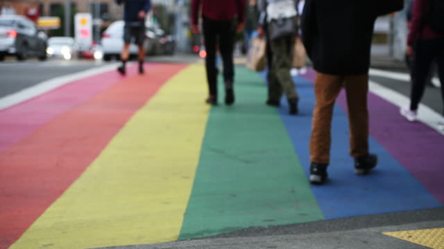 Seattle LGBT One of the LGBT rainbow crosswalks on Capitol Hill in Seattle. lgbtqi rights stock videos & royalty-free footage