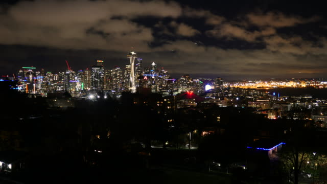 Seattle skyline and cityscape timelapse with Space Needle