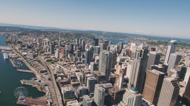 Seattle Skyline Architecture Overhead Aerial Shot Above Buildings