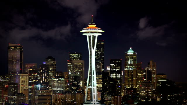 Seattle Skyline at night Timelapse of the Seattle Skyline at night, USA  seattle stock videos & royalty-free footage