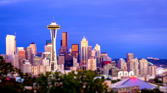 Seattle Skyline Sunset, Time Lapse video