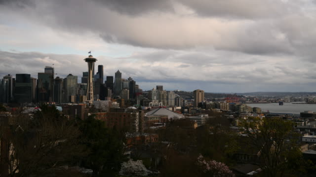 Seattle Skyline Time Lapse A time lapse of a rain storm moving in over the city during the Covid-19 city wide shutdown. seattle stock videos & royalty-free footage