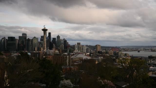 시애틀 스카이라인 타임랩스 - seattle 스톡 비디오 및 b-롤 화면
