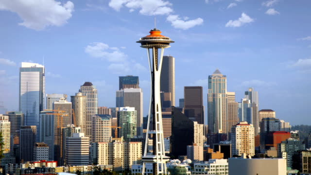 Seattle Skyline Timelapse of the Seattle Skyline on a perfect day, USA  seattle stock videos & royalty-free footage