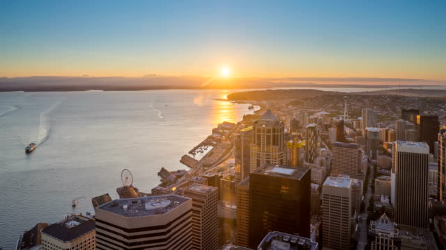 Seattle sunset and twilight 4k time lapse video