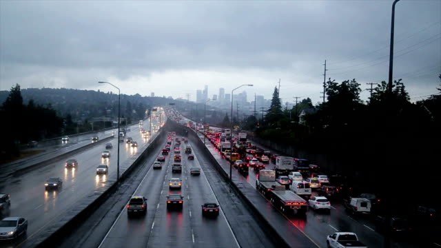 Seattle traffic Seattle traffic during a rain storm. seattle stock videos & royalty-free footage