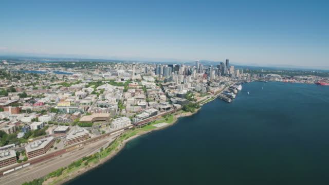 Seattle WA Downtown Aerial City Waterfront