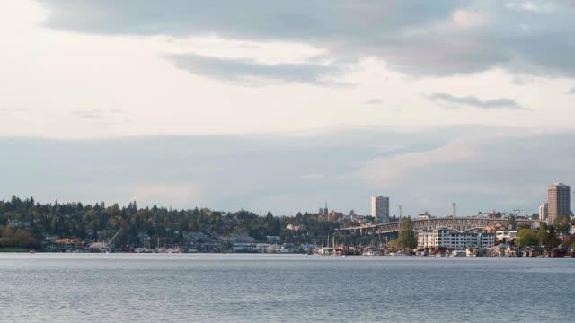 Seattle, Washington Background Water Bridge Sky video