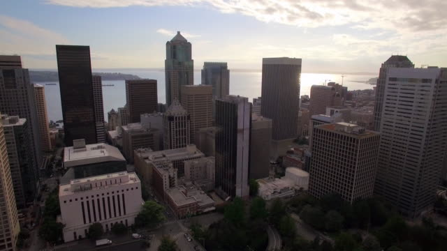 Seattle, Washington City Aerial with Skyscraper Buildings and Puget Sound in the Background video