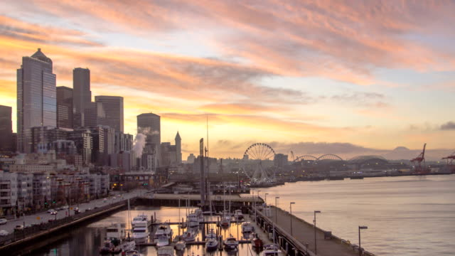 Seattle Waterfront Morning Time lapse video