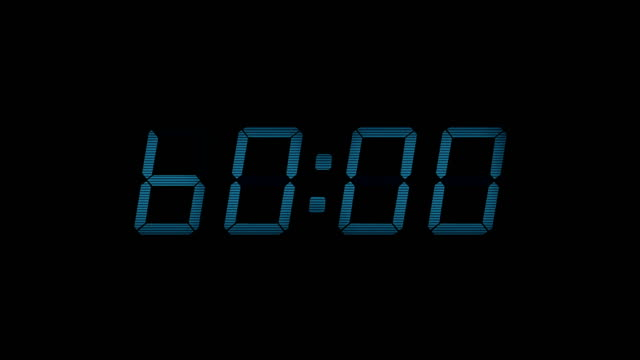 60 Second Digital Countdown Display Blue 4K Digital timer display counts down from 60 to 0 timer stock videos & royalty-free footage