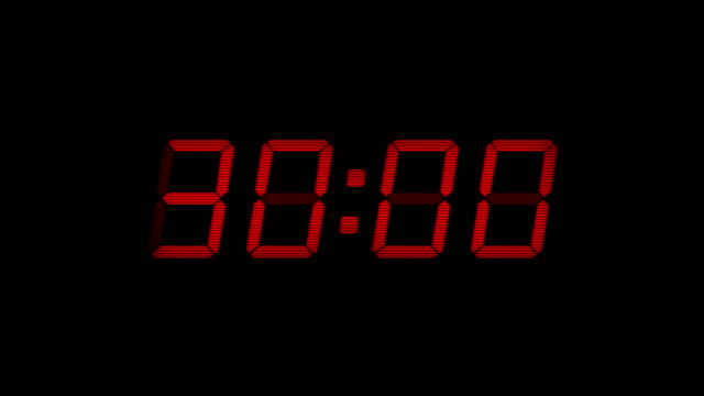 30 Second Digital Countdown Display Red 4K Digital timer display counts down from 30 to 0 timer stock videos & royalty-free footage