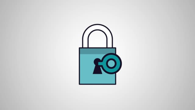 Security and safety HD animation scenes Key unlocking padlock over white background High Definition colorful animation scenes padlock stock videos & royalty-free footage