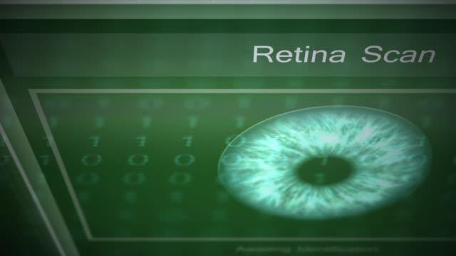 vídeos de stock e filmes b-roll de security authorization panel series - retina scan - going inside eye