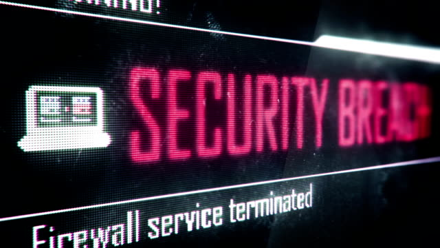 Security breach, firewall service terminated screen text, system notification Security breach, firewall service terminated screen text, system notification cybersecurity stock videos & royalty-free footage