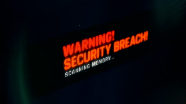 Security breach, warning message on computer screen, red text video