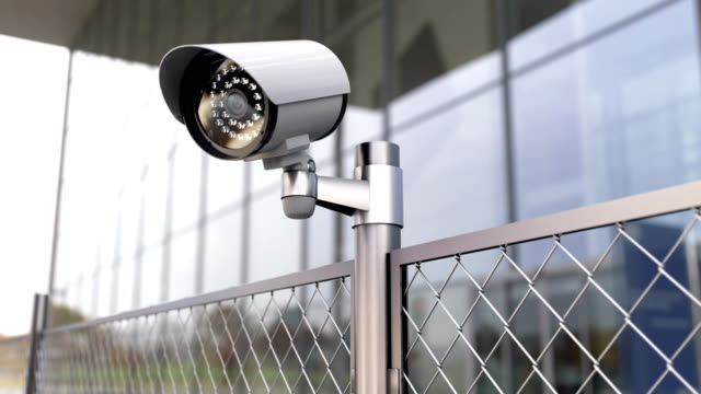 Security camera and chainlink fence at the restricted area and prohibited zone video