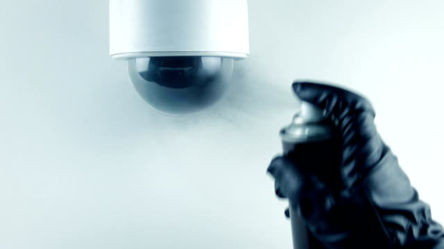 Security Camera Is Spray Painted - Privacy, Crime Concept video