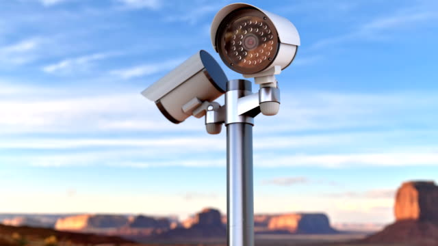 CCTV security cameras monitoring restricted area and forbidden zone animation video